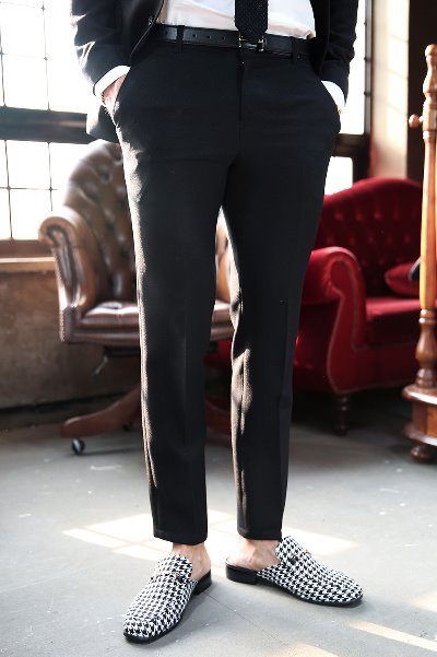 Black Slim Straight Slacks Pants