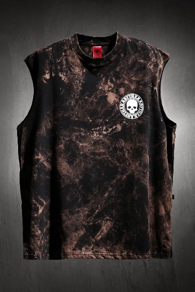 ByTheR Custom Rough Bleach Skull Logo Cutting Box Tank Top Black