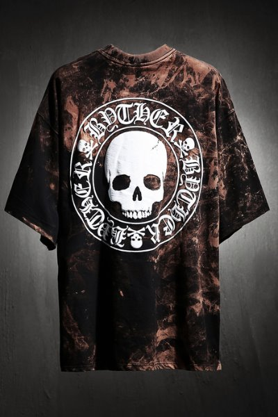 ByTheR Custom Rough Bleach Skull Logo Embossing Loose Fit T-Shirt Black