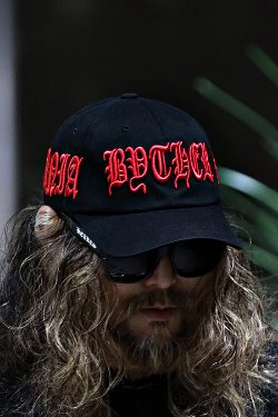 ByTheR Red Lettering Embroidered Black Ball Cap